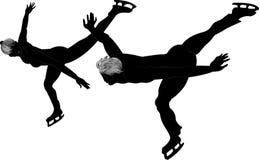 Силуэты пар конькобежцев на льде Стоковые Фотографии RF