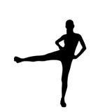 Силуэты разминки тренировки женщины фитнеса спорта Стоковое фото RF