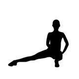 Силуэты разминки тренировки женщины фитнеса спорта Стоковые Изображения RF