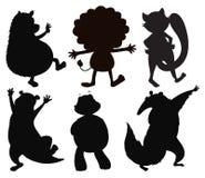 Силуэты различных диких животных Стоковое Изображение