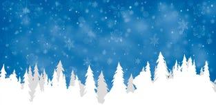 Силуэты сосны с снегом Стоковое Фото