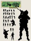 Силуэты солдата Стоковое Изображение RF