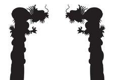 Силуэты столба дракона Стоковая Фотография