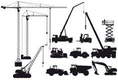 Силуэты строительного оборудования Стоковое фото RF