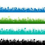 Силуэты травы и заводов детальные. EPS 10 Стоковое Фото