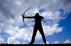 Силуэты лучника стоковое изображение