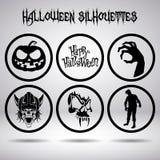 Силуэты хеллоуина в круге Стоковые Изображения RF
