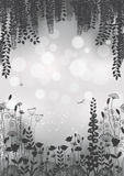 Силуэты цветков на серой предпосылке иллюстрация Стоковые Фото