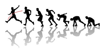 Силуэты человека выигрывая марафон Стоковая Фотография RF