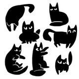Силуэты шаржа кота Стоковая Фотография