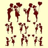 Силуэты людей в влюбленности, комплекте Стоковые Изображения RF