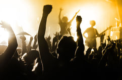 Силуэты людей на концерте стоковое изображение rf