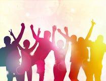 Силуэты людей танцев Стоковые Фото