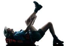 Силуэт аварии ушиба trekker женщины trekking Стоковая Фотография