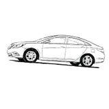 Силуэт автомобиля черно-белый Стоковое Изображение RF