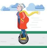 Силуэт бабушки Старуха на самокате Monowheel технологии старой прогрессивной пользы женщины современное Вектор плоского стиля сов Стоковое Изображение