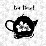 Силуэт бака чая с цитатой Винтажная иллюстрация вектора Стоковая Фотография