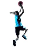 Силуэт баскетболиста женщины Стоковое Изображение RF