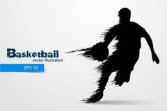 Силуэт баскетболиста также вектор иллюстрации притяжки corel Стоковое Фото