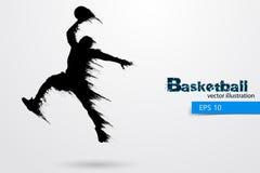 Силуэт баскетболиста также вектор иллюстрации притяжки corel Стоковые Фото
