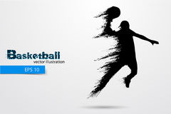 Силуэт баскетболиста также вектор иллюстрации притяжки corel Стоковое фото RF