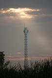 Силуэт башни антенны Стоковое Изображение RF