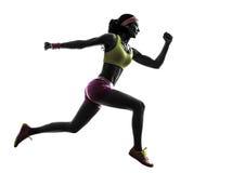 Силуэт бегуна женщины бежать скача Стоковые Изображения RF