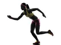 Силуэт бегуна женщины идущий Стоковая Фотография RF
