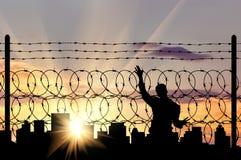 Силуэт беженца человека Стоковые Фото