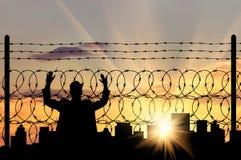 Силуэт беженца человека Стоковая Фотография RF