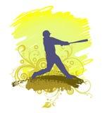 Силуэт бейсболиста Стоковые Изображения RF
