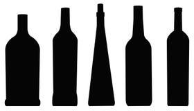 Силуэт бутылок Стоковое Изображение