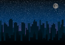Силуэт вектора города Небо звезды 10 eps Стоковое Изображение