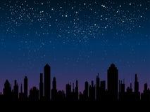 Силуэт вектора города Небо звезды 10 eps Стоковое фото RF