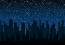 Силуэт вектора города Небо звезды 10 eps Стоковое Фото