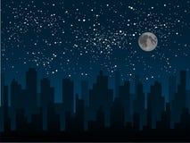 Силуэт вектора города Небо звезды 10 eps Стоковые Фотографии RF