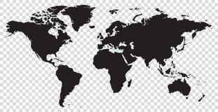 Силуэт вектора карты мира изолированный иллюстрацией Стоковое фото RF