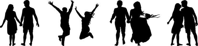 Силуэт вектора пар на белой предпосылке Изолированные человек и женщина иллюстрация вектора