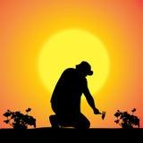 Силуэт вектора садовника Стоковое Изображение RF