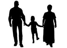 Силуэт вектора семьи Стоковая Фотография RF