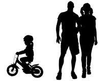 Силуэт вектора семьи Стоковое Изображение RF