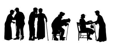 Силуэт вектора старые люди Стоковые Фотографии RF