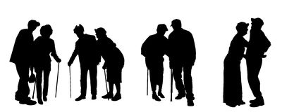 Силуэт вектора старые люди Стоковое Изображение