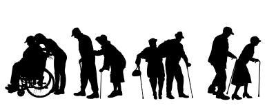 Силуэт вектора старые люди Стоковое Изображение RF