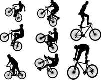 Силуэт вектора эффектного выступления 5 велосипеда стоковое изображение rf