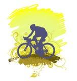Силуэт велосипеда катания человека Стоковое Изображение RF