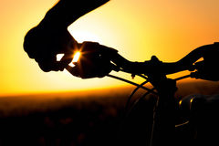 Силуэт велосипеда катит внутри поле Стоковая Фотография