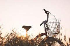 Силуэт велосипеда на траве Стоковая Фотография