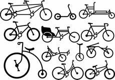 Силуэт велосипеда установленный вектор изображения иллюстраций download готовый штемпель Стоковое Изображение RF