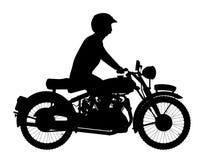 Силуэт велосипедиста мотора Стоковое Изображение RF